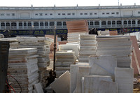 Slabs of white marble in front of the Golden Temple in Amritsar