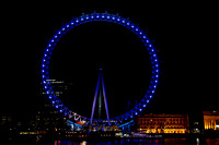 London Eye all done up in blue light
