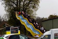 A slide with kids and parked cars inside the Blair Drummond safa