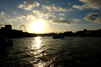 View of the Thames at sunset with London Eye in the background