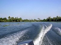 Wake from the wash of an outboard motor boat in a lagoon