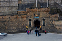 Tourists just outside the gate of Edinburgh Castle in Scotland i