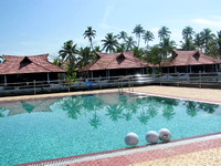Balls lined up in the swimming pool in a resort in Alleppey