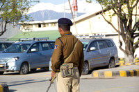 Security personnel on guard outside Srinagar Airport
