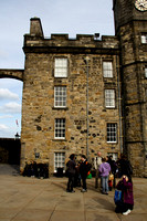 Tourists in front of the royal palace inside the Edinburgh Castle
