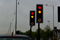Traffic signals by the side of the road in London