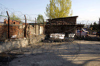 Concertina wire around an establishment in Srinagar