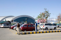 View of Srinagar airport and taxis outside