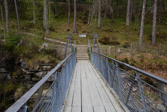 Wooden bridge over the Corrieshalloch Gorge in the Scottish High