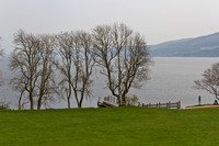 Loch Ness and boat jetty next to Urquhart Castle