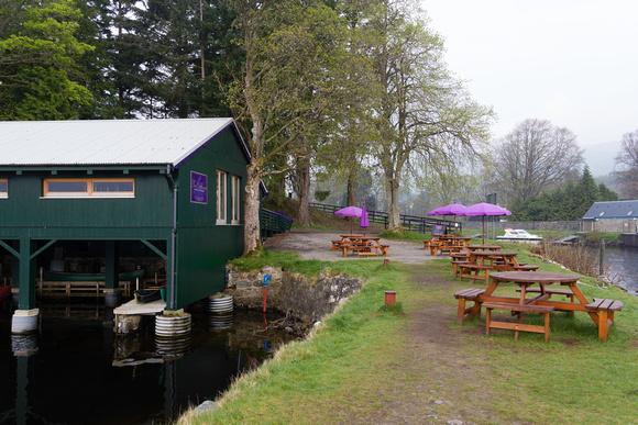Ashish Agarwal: Scotland &emdash; Boat yard and tables on the shore of Loch Ness in Scotland