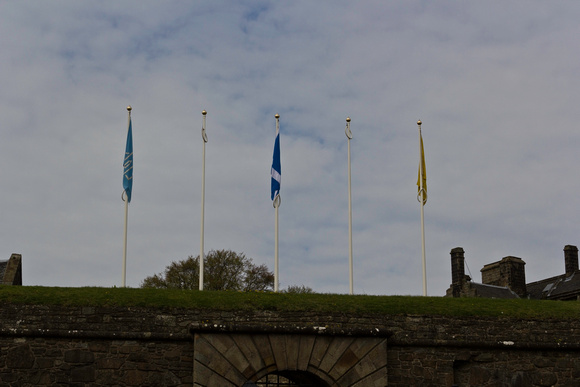 Furled Scottish Flag at the top of entrance gate of the Stirling Castle